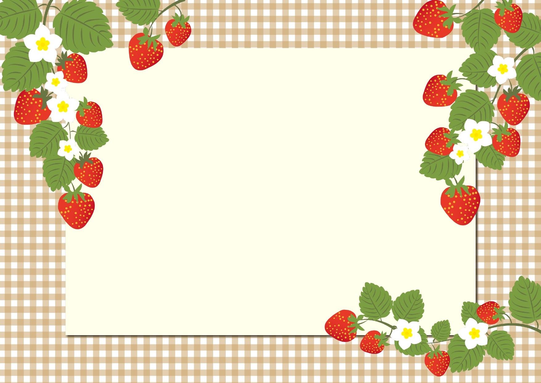 手書き風でおしゃれな いちご 苺の花の無料イラストフレーム素材 無料ダウンロード テンプレルン