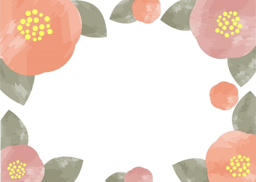 愛らしく咲くツバキの「はがき」無料テンプレート素材