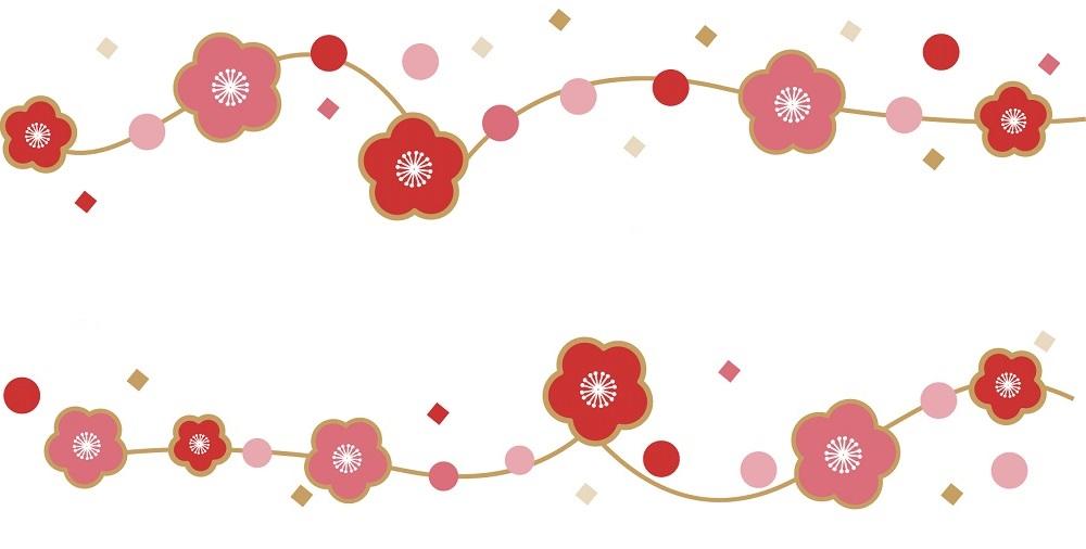 薄紅の梅の花の「はがき」無料テンプレート素材