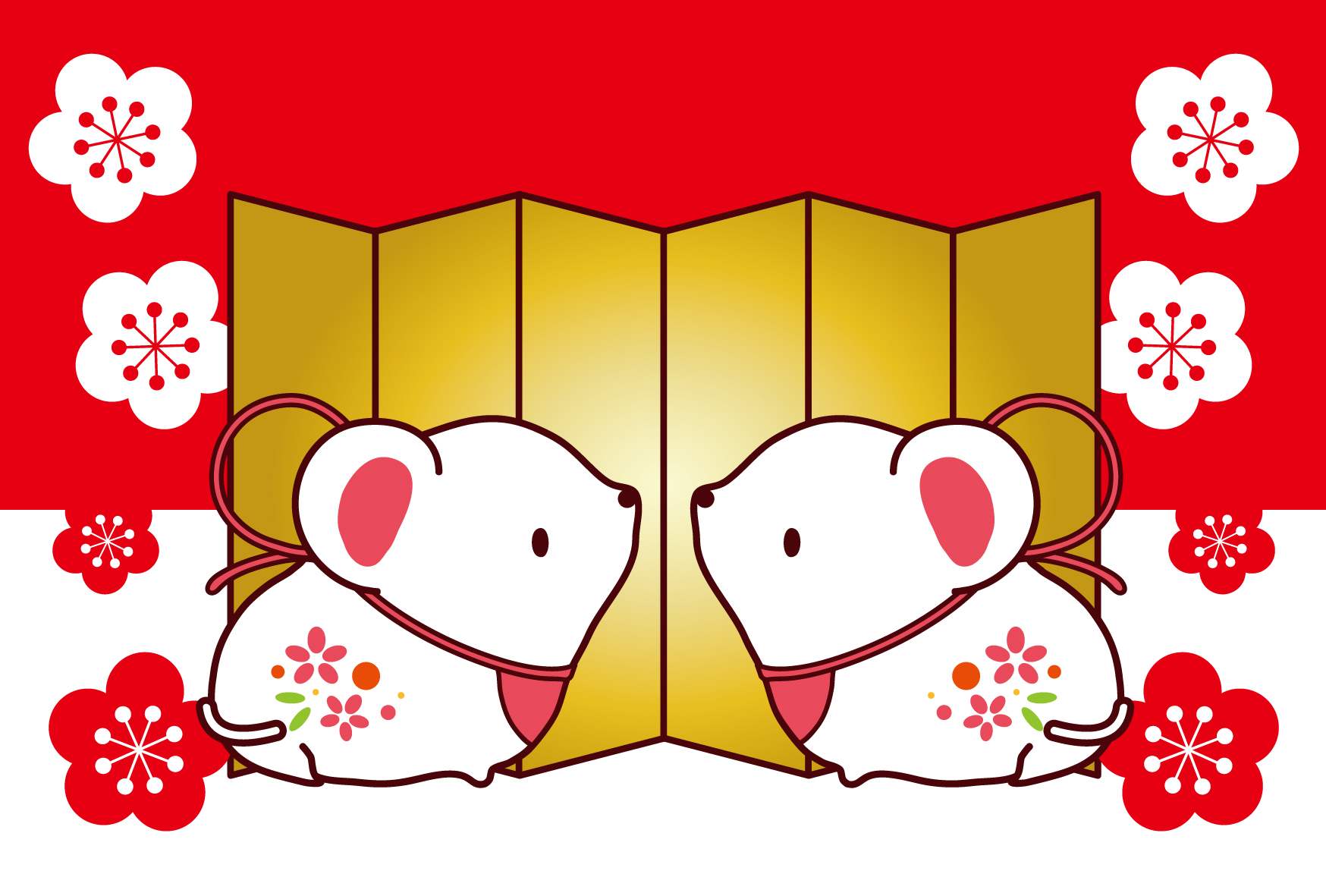 縁起がいい金屏風と紅白ねずみ無料イラスト年賀状素材