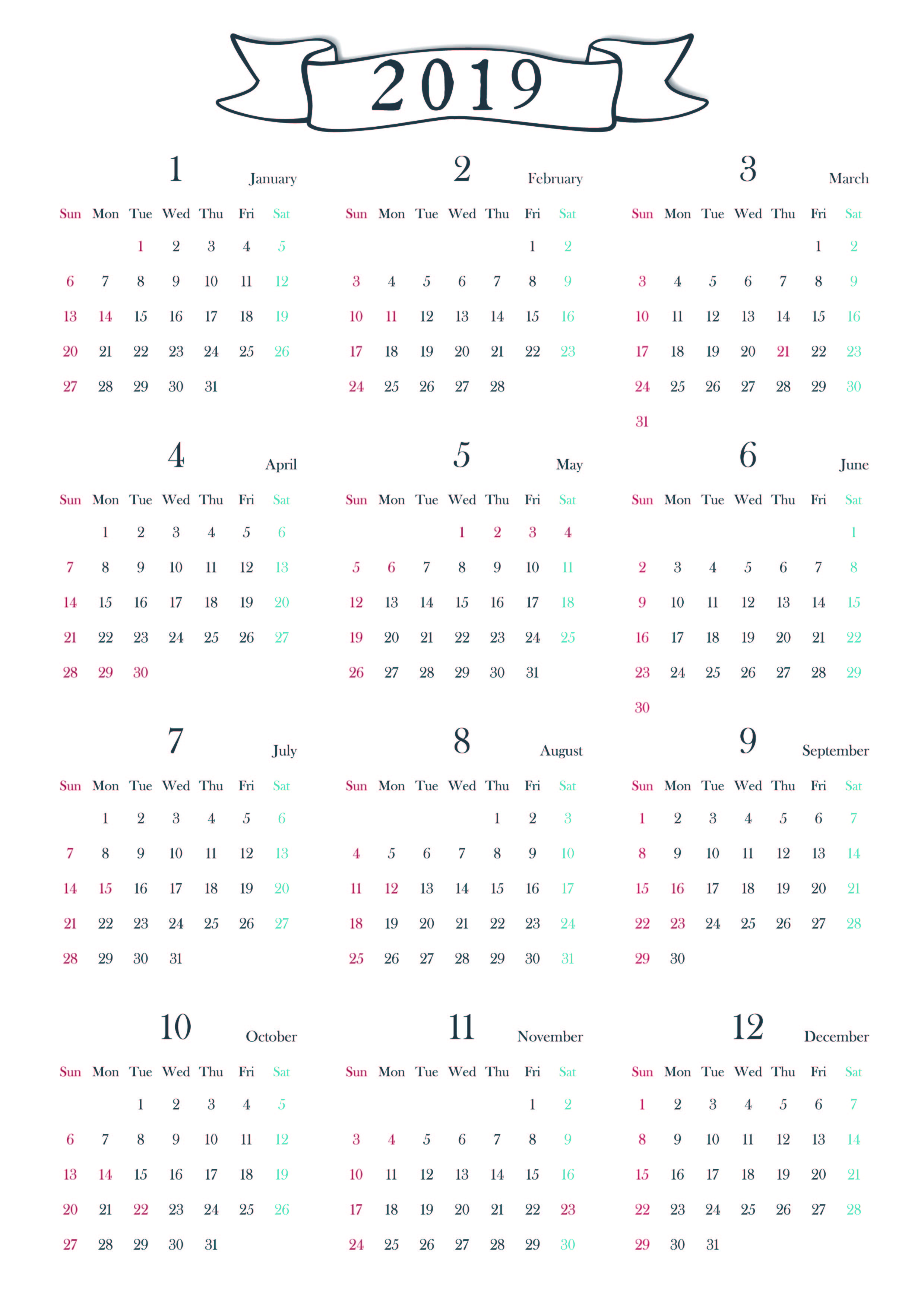 2019年の年間縦型カレンダー