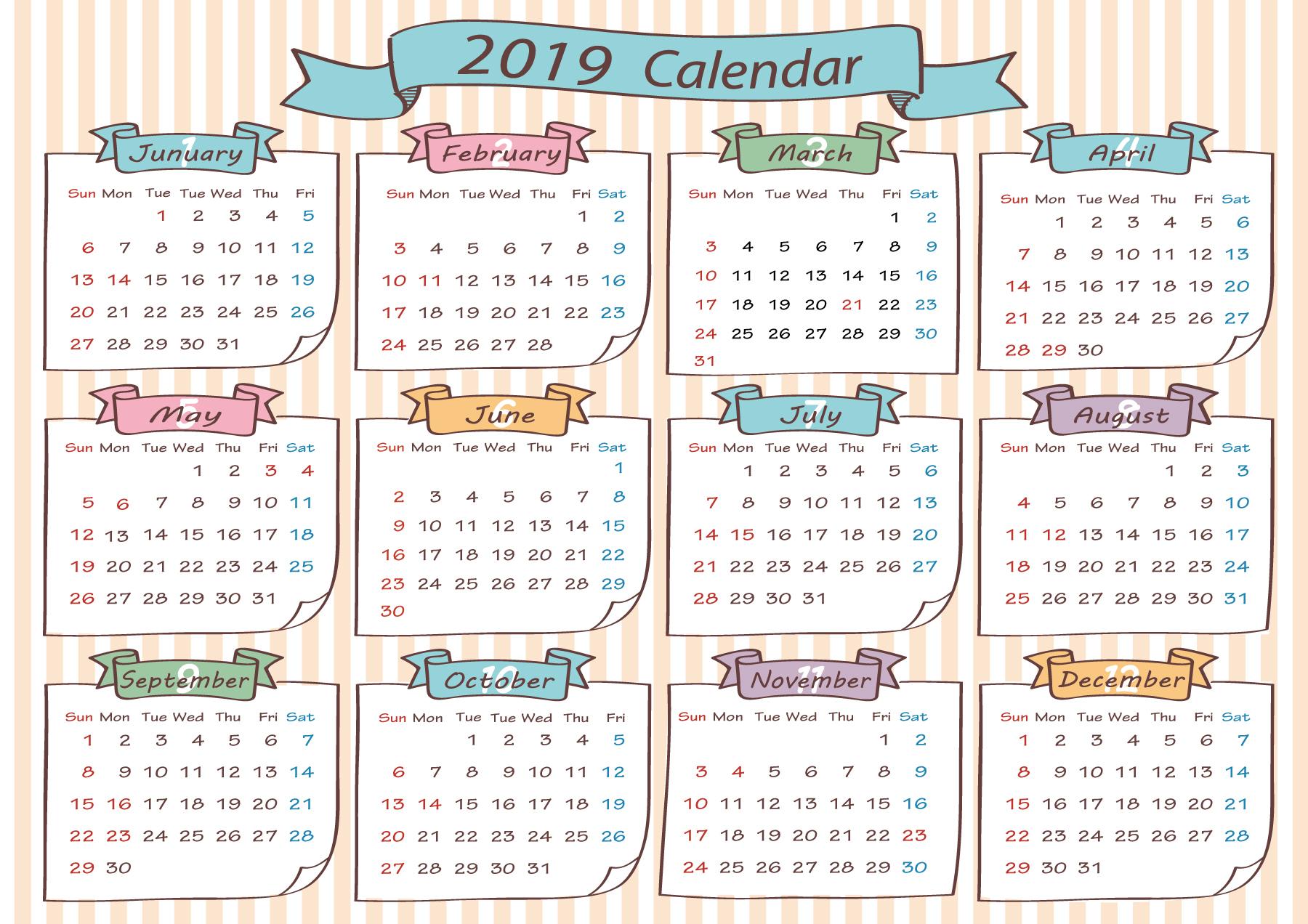 2019年の年間横型カレンダー