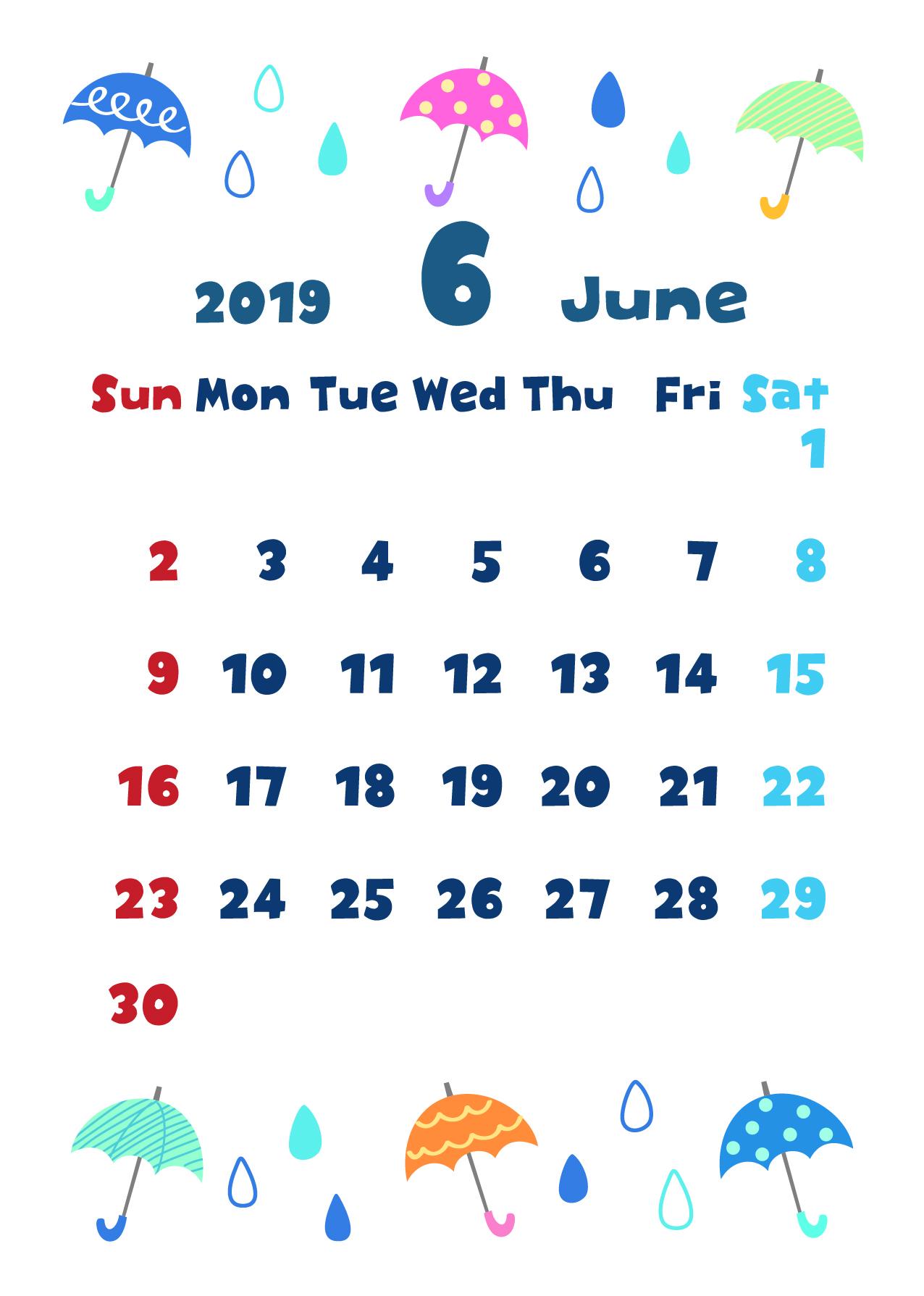2019年6月縦型カレンダー