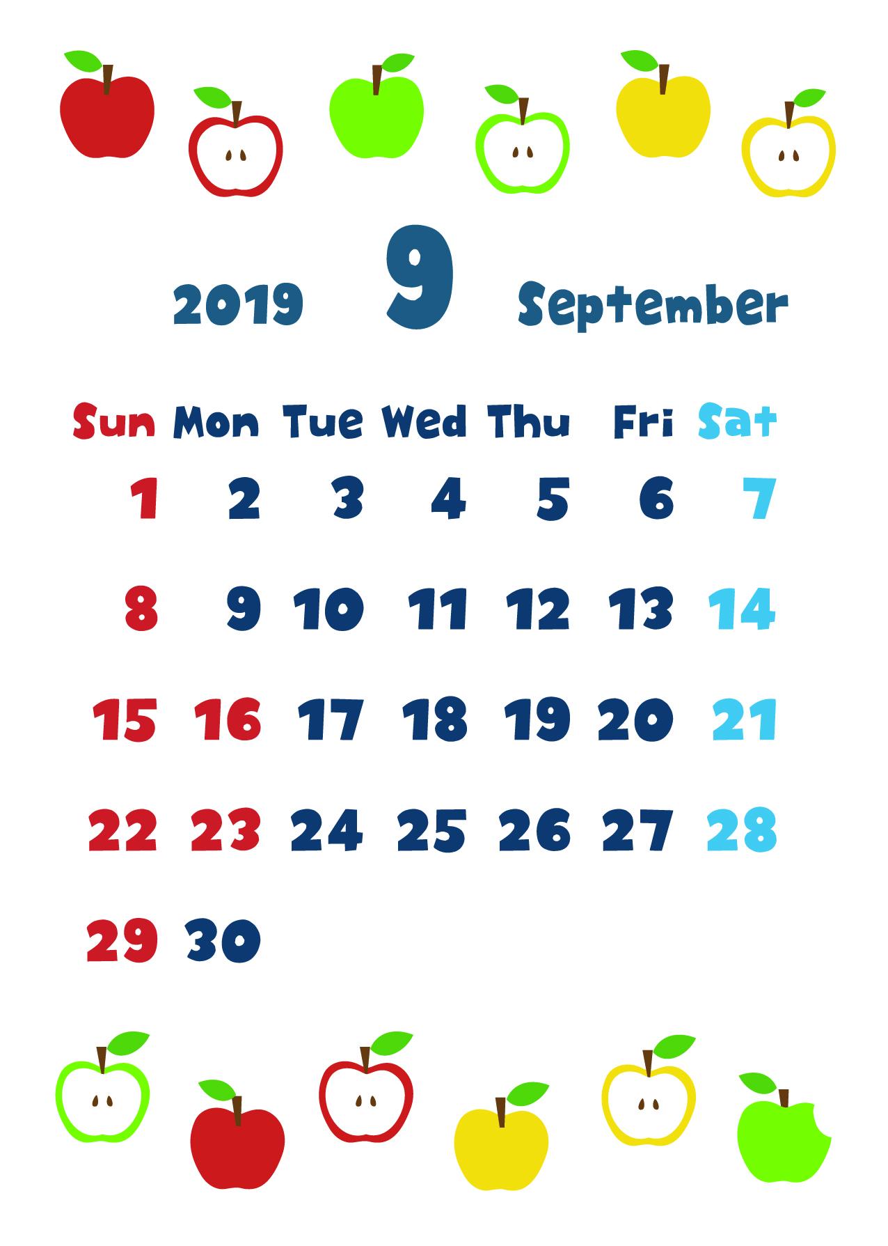 2019年9月縦型カレンダー