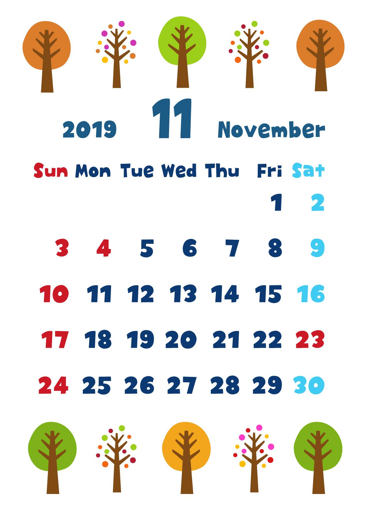 2019年11月縦型カレンダー