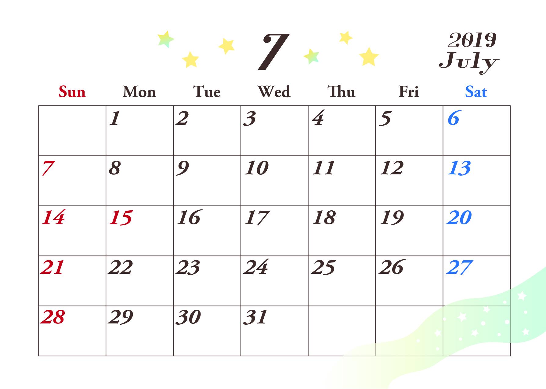 2019年7月横型カレンダー