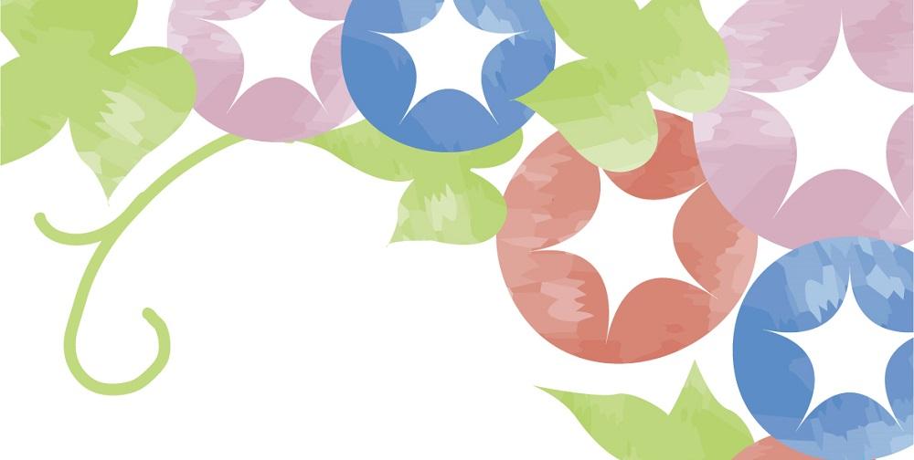 三色の朝顔の花の「はがき」無料テンプレート素材
