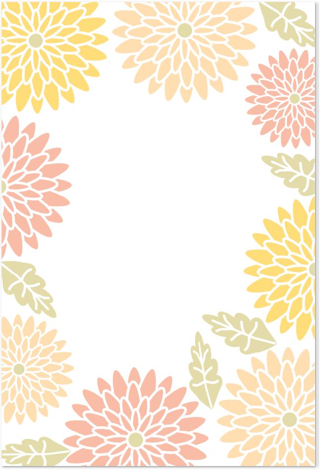 菊の花のフレームはがき素材を無料でダウンロード