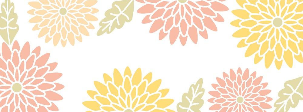 菊の花のフレームの「はがき」無料テンプレート素材
