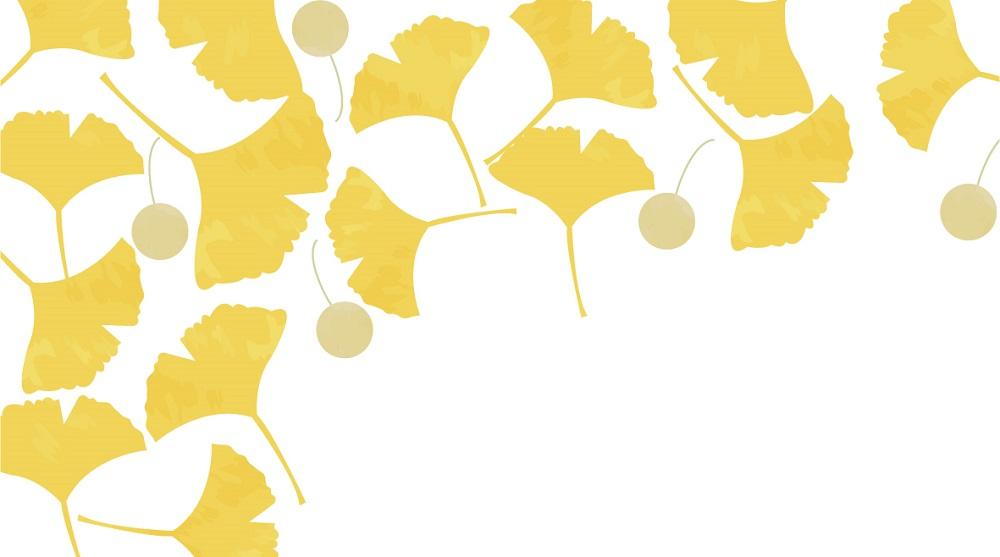イチョウの葉とギンナンの実の「はがき」無料テンプレート素材