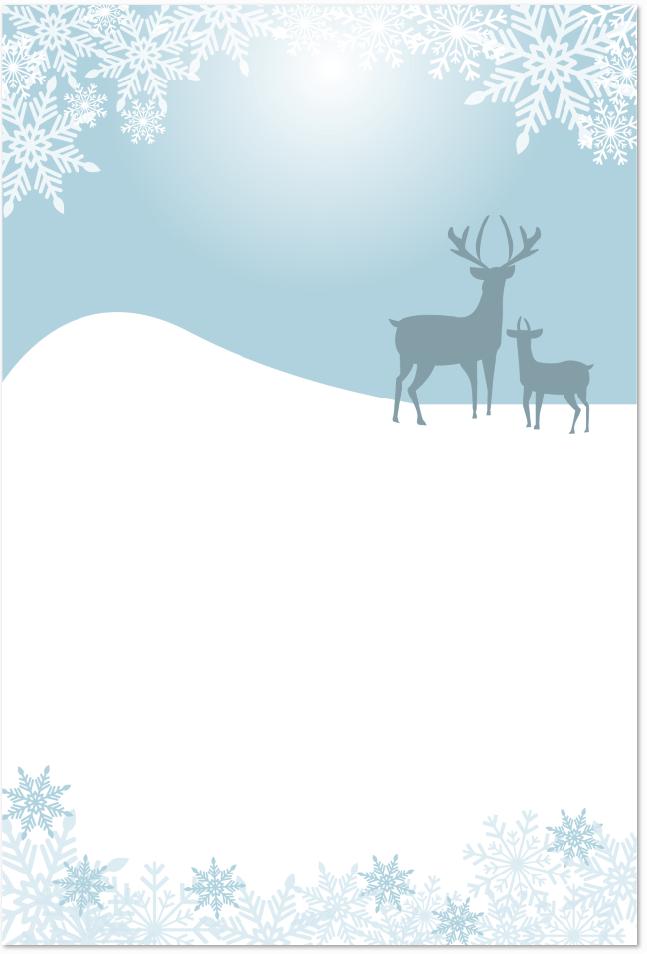 鹿の親子のはがきテンプレートを無料でダウンロード
