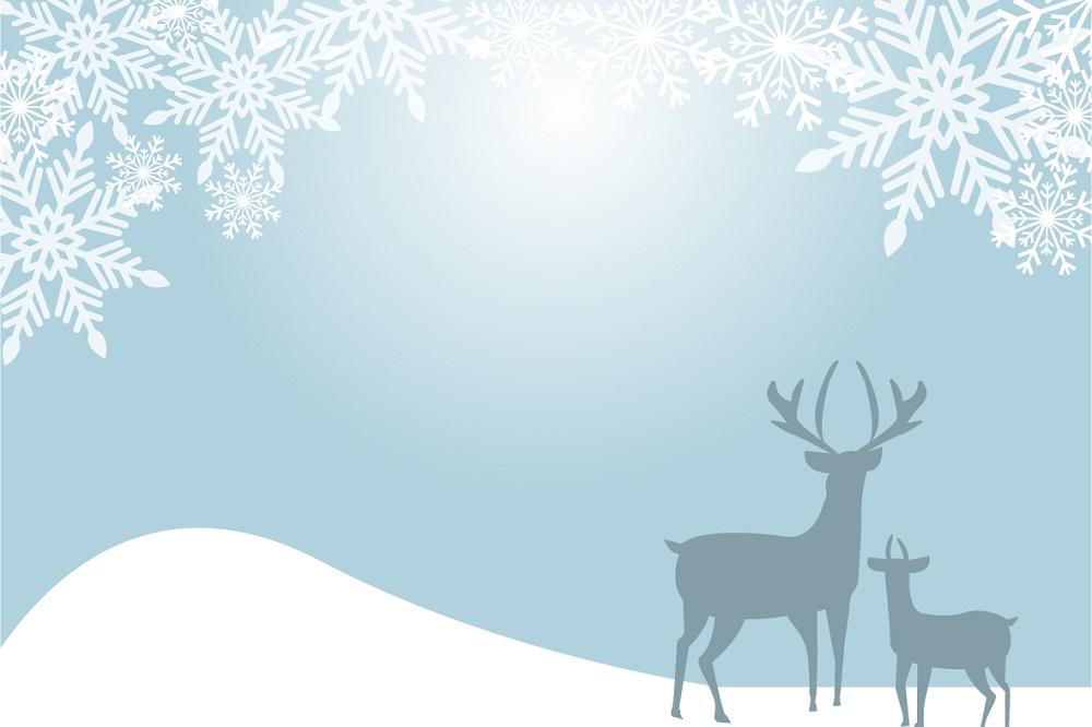 雪の結晶と鹿の親子の「はがき」無料テンプレート素材