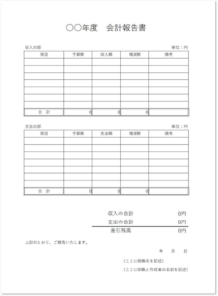 町内会や部活動の会計報告書テンプレートをダウンロード