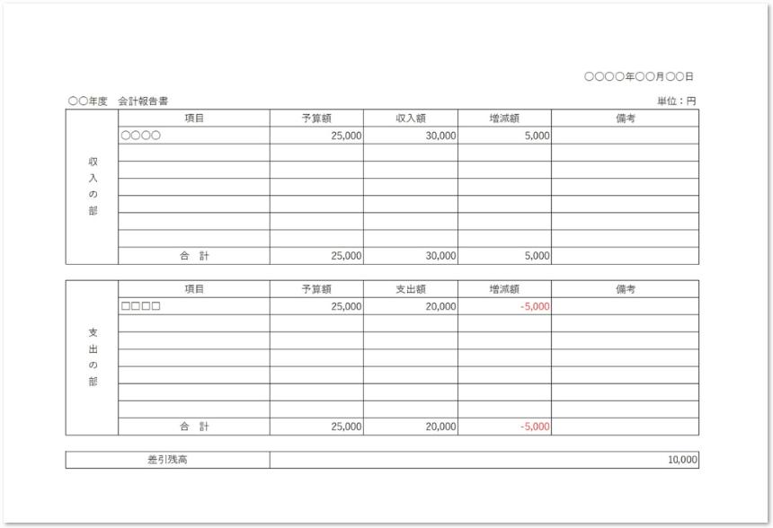 表形式の横型の会計報告書の無料ダウンロード