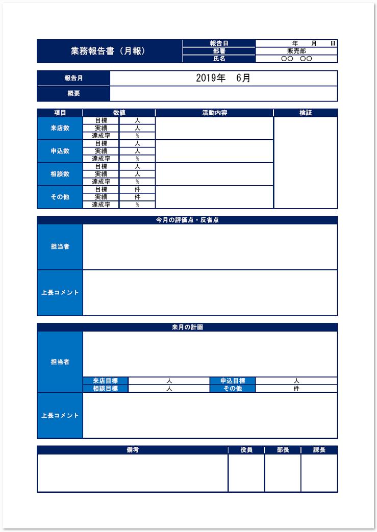 書き方・作り方が簡単な業務報告書をダウンロード