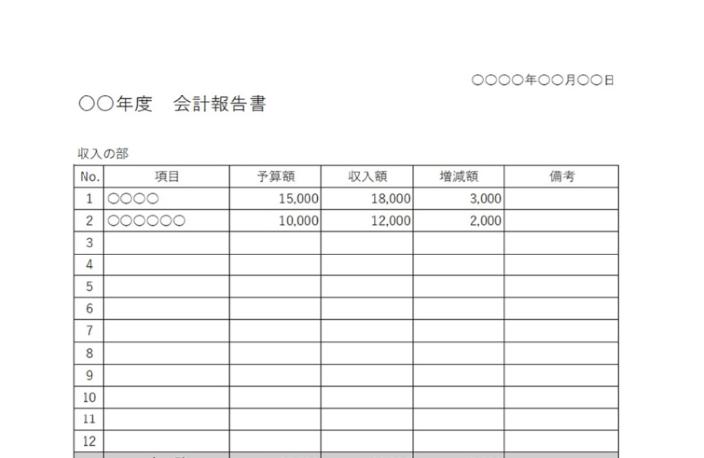 行数が多めな会計報告書のエクセル・ワードの無料テンプレート