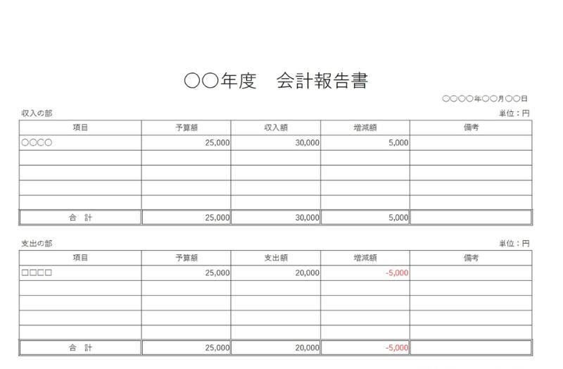 シンプルな会計報告書の横型A4サイズの無料テンプレート