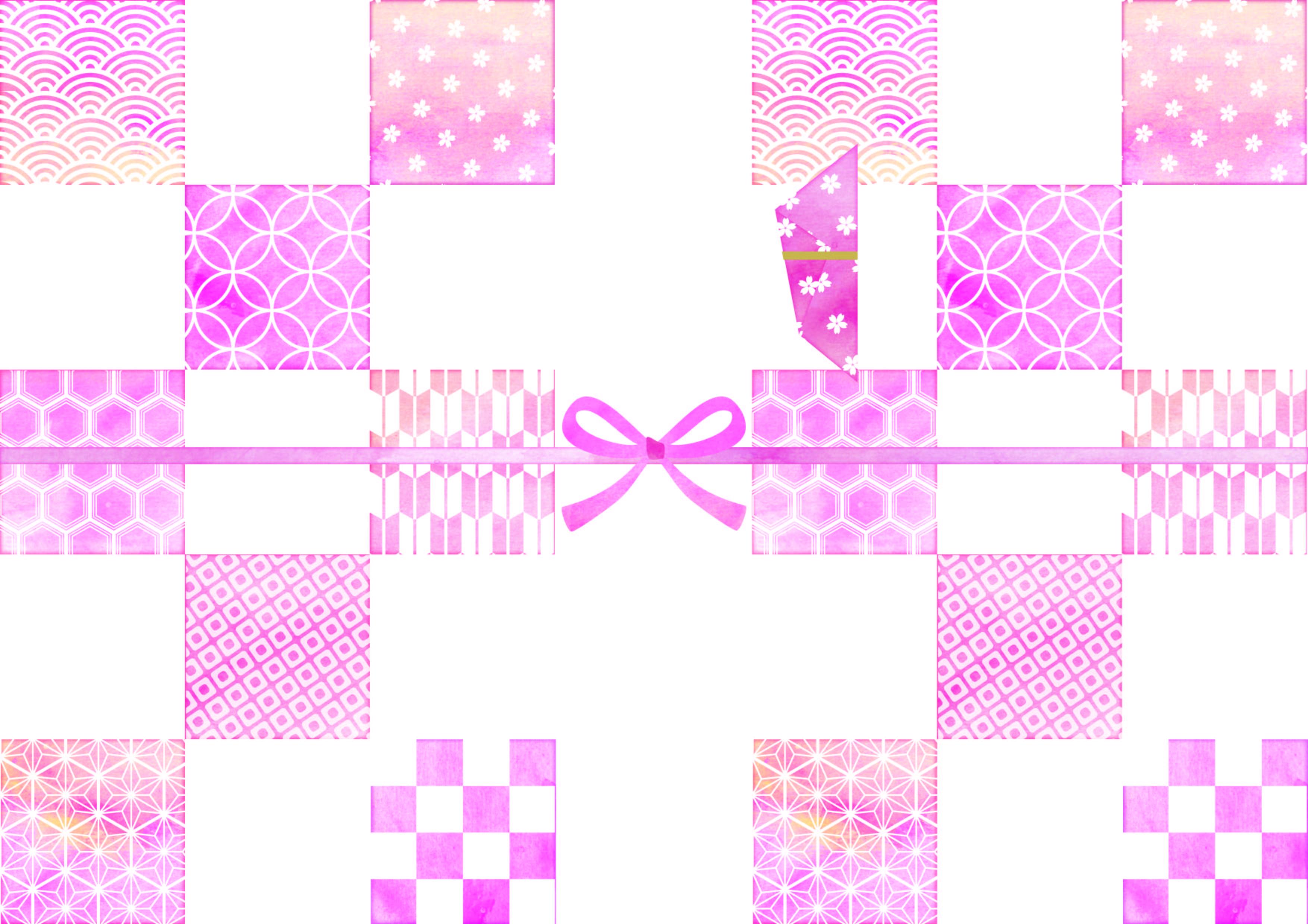 市松模様のピンク色「のし紙」無料のテンプレート素材