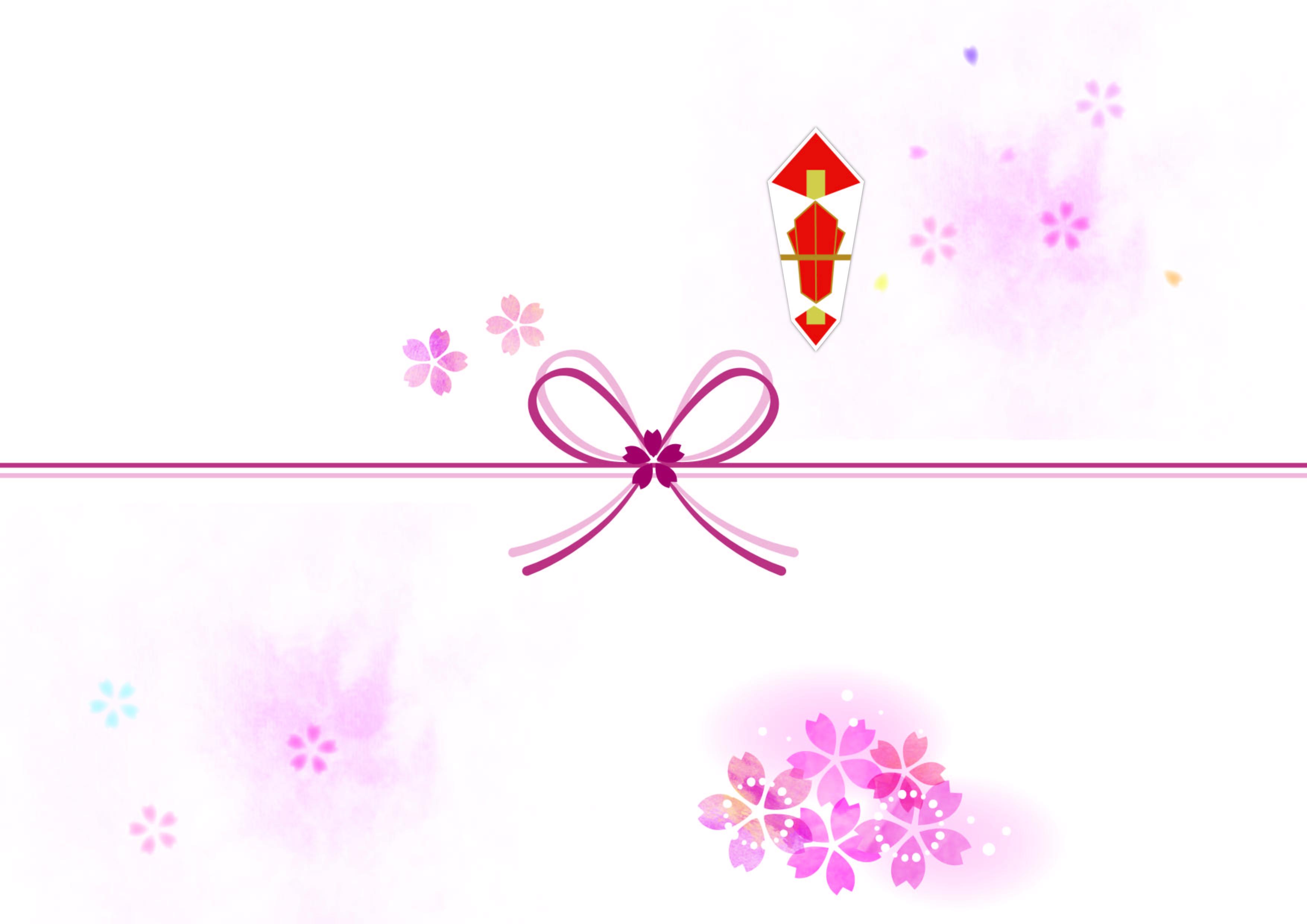 水引がピンク2色の「のし紙」ワード&エクセル・PDF無料のテンプレート