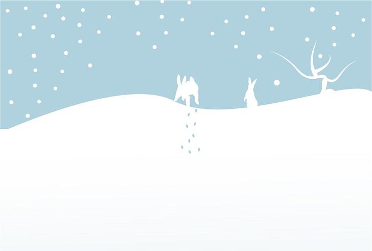 雪とウサギのイラストのはがきサイズの無料メッセージカードのテンプレート