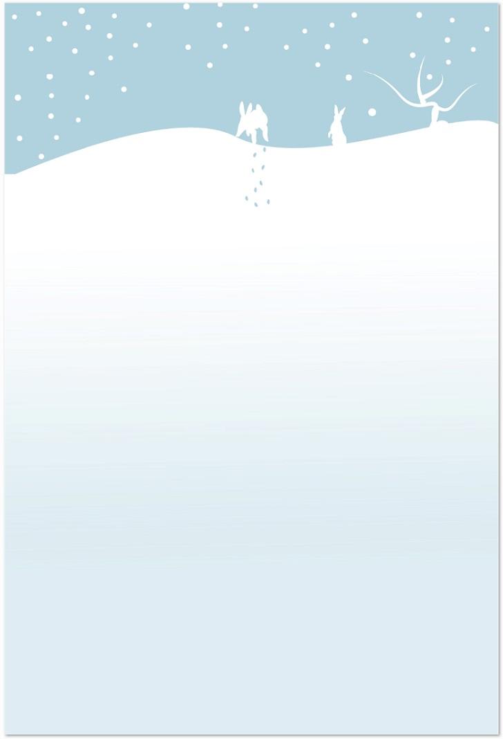 雪とウサギの無料イラストのはがきサイズをダウンロード