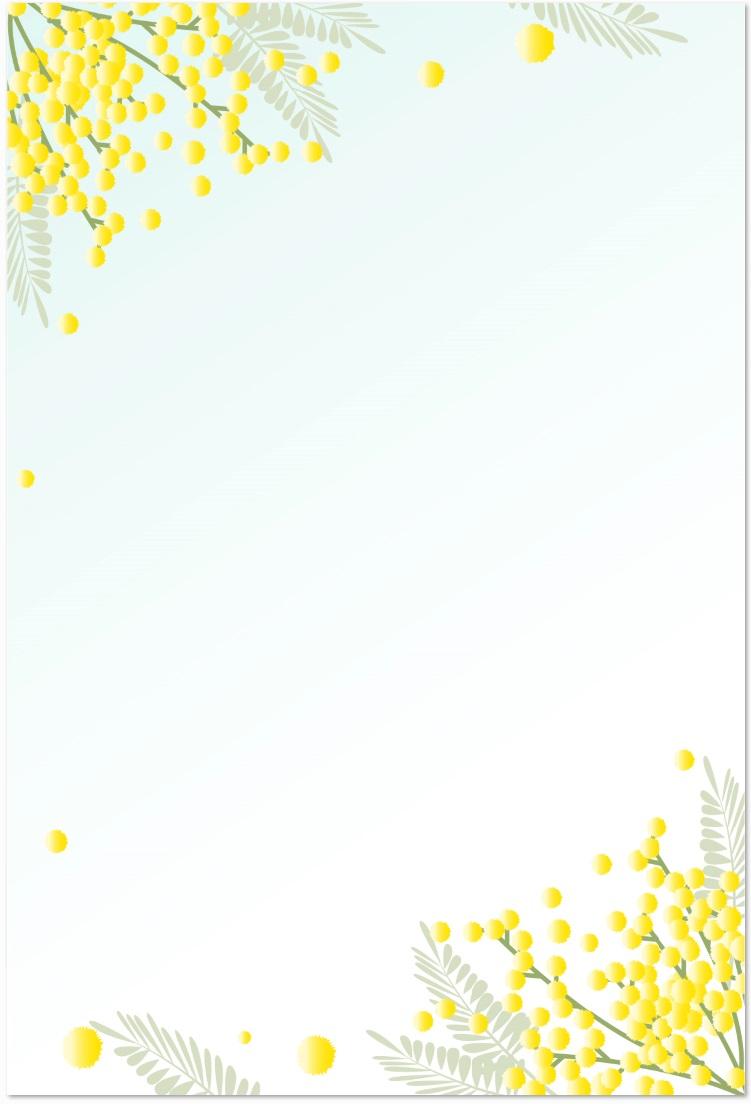 3月のデザイン花「ミモザ」のメッセージカードをダウンロード