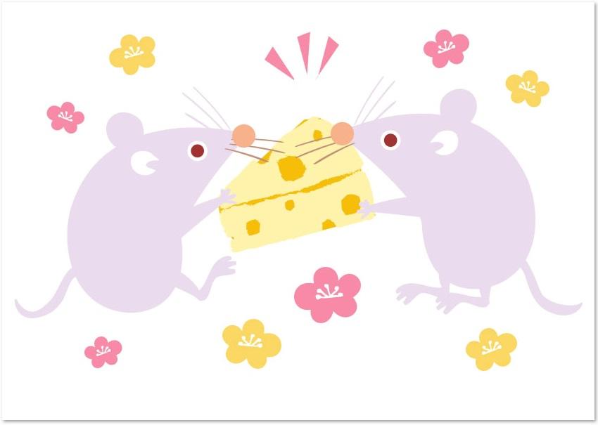 ねずみがチーズを取り合っているイラストをダウンロード