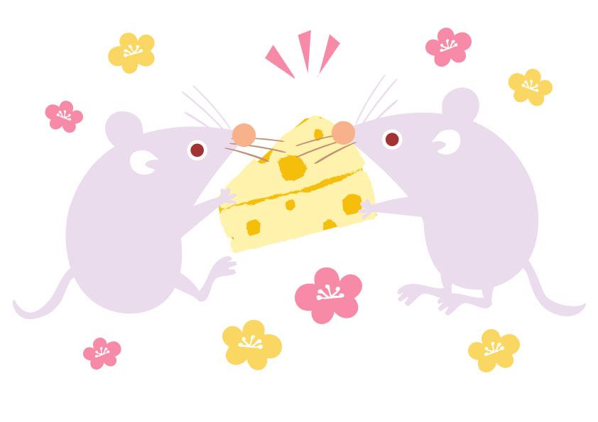 梅の花&2匹のねずみがチーズを取り合っている無料イラスト素材