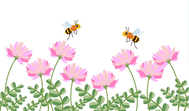 4月のレンゲソウ&ミツバチの無料イラストのメッセージカード