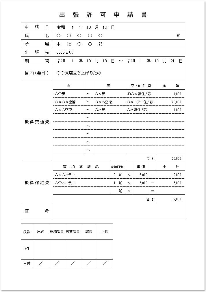 出張許可申請書のワード・エクセル・PDF