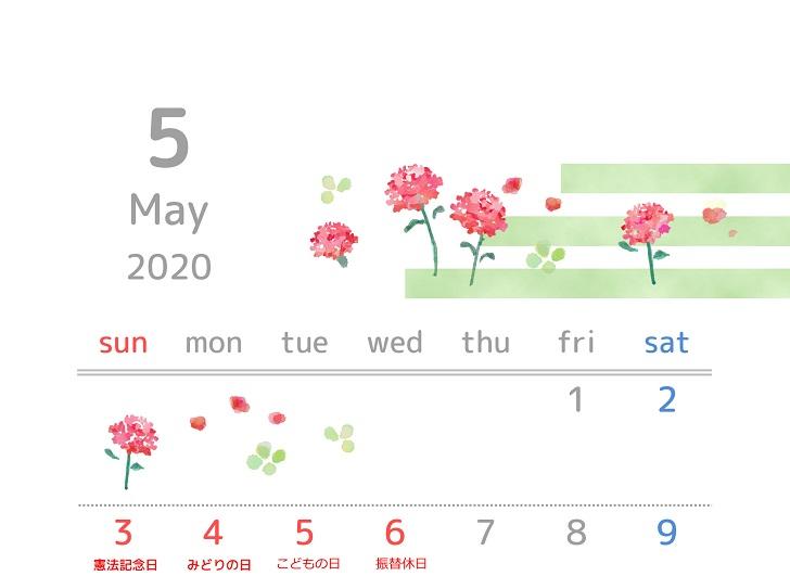 2020年5月縦型の「カーネーション」イラスト無料カレンダー