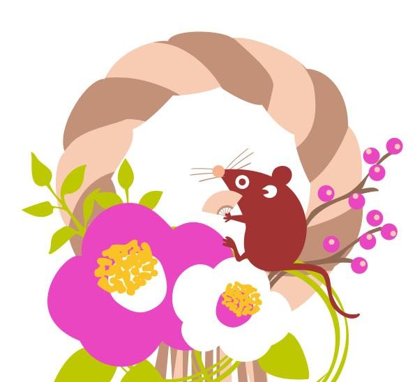 椿の花や南天の枝を飾ったお正月飾り(リース)ねずみの無料イラスト