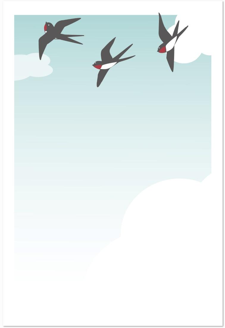 5月のツバメのメッセージカードのテンプレートをダウンロード