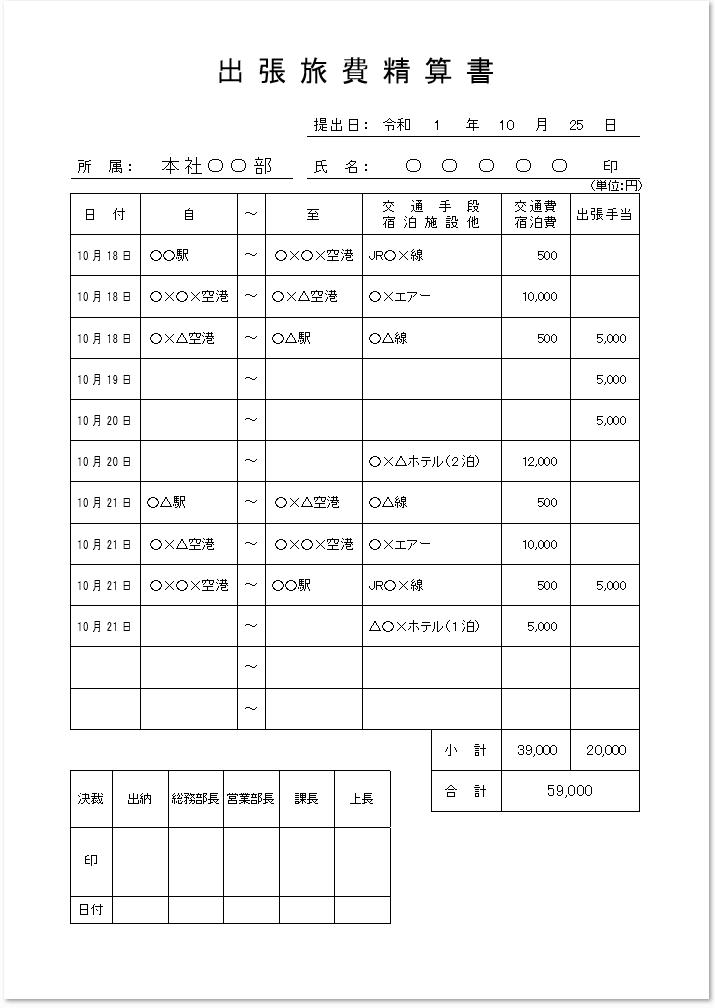 出張旅費精算書のワード(word)エクセル(Excel)PDF