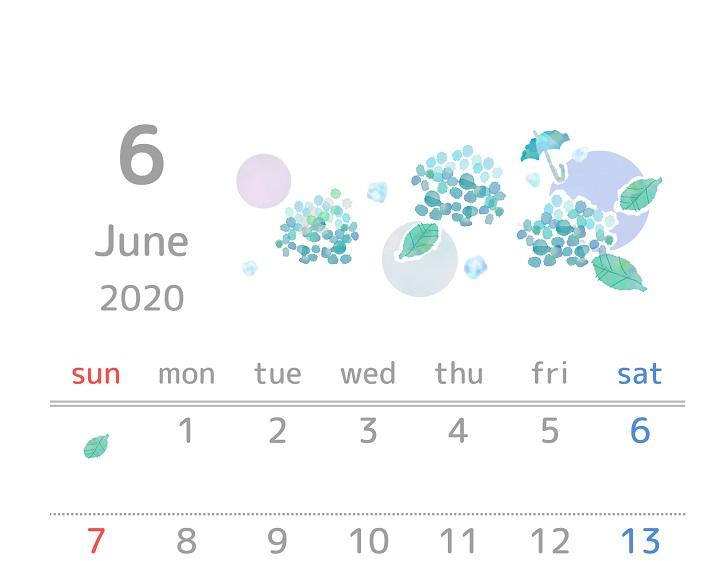 2020年6月縦型の紫陽花「アジサイ」イラスト無料カレンダー