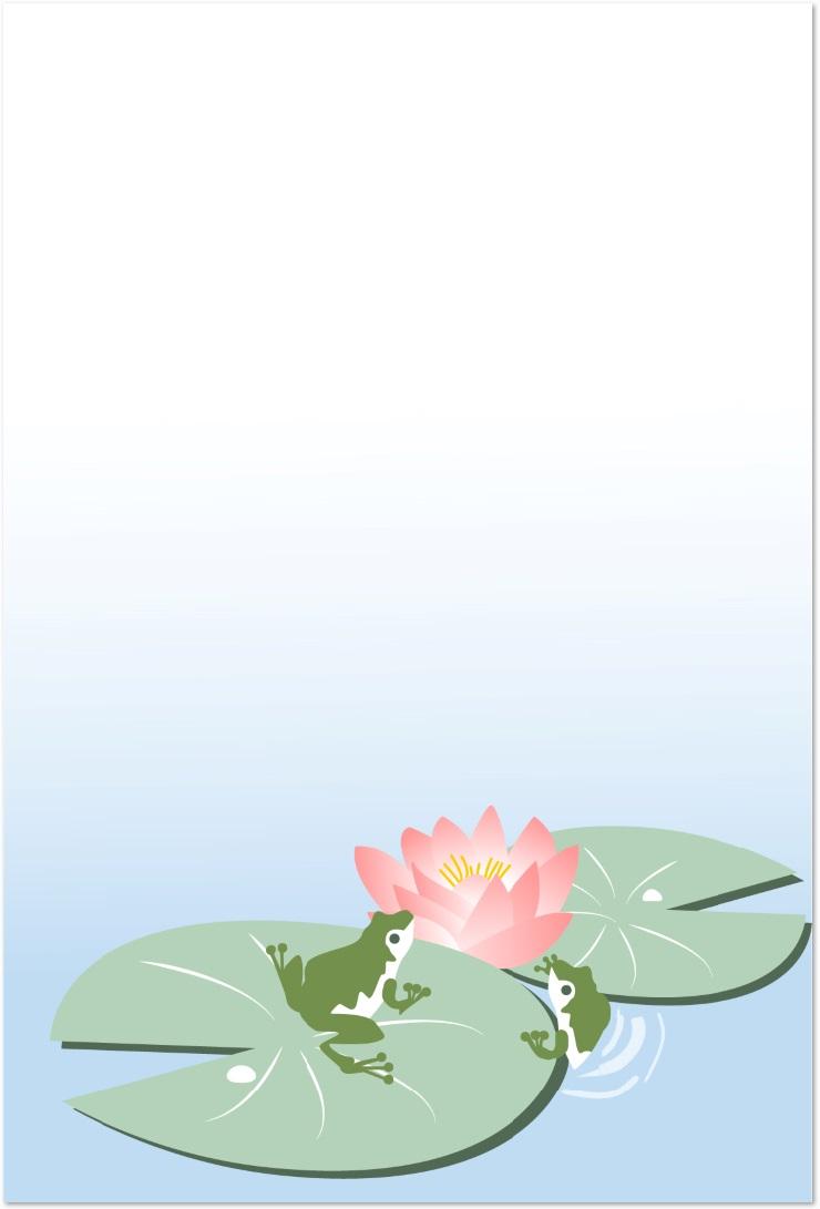 睡蓮の花&蛙のイラスト・メッセージカードをダウンロード