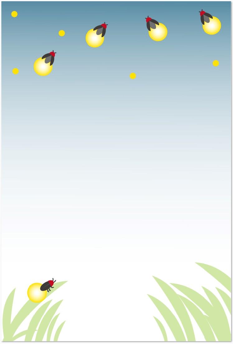 6月の幻想的な蛍のメッセージカードのテンプレートをダウンロード