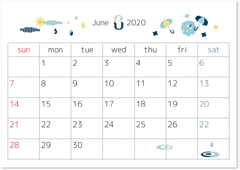 2020年6月横型の傘・雨・梅雨イラスト無料カレンダーをダウンロード