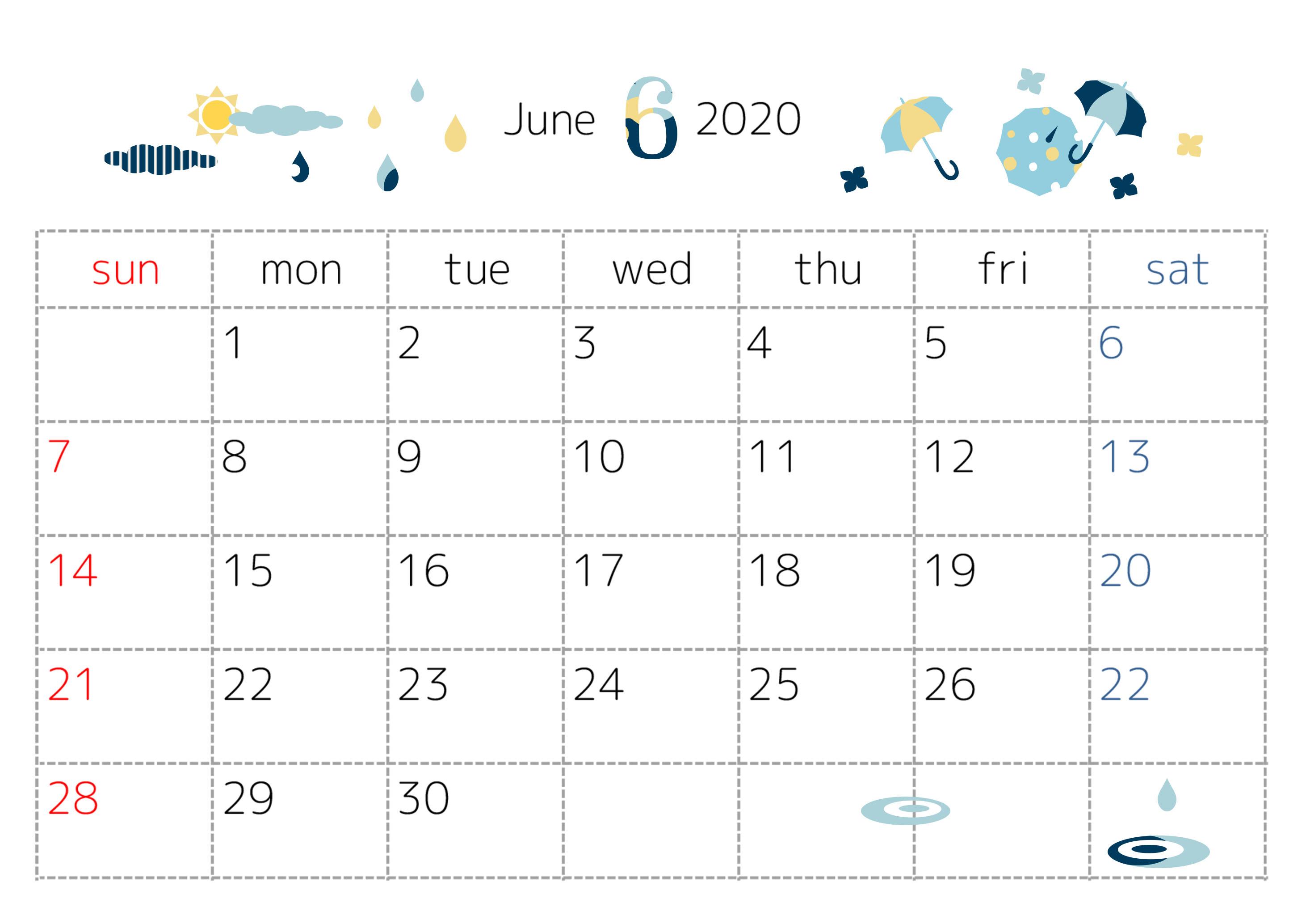 「修正済み」2020年6月横型の傘・雨・梅雨イラスト無料カレンダー
