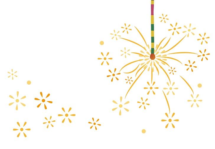暑中見舞いに線香花火のイラスト入りハガキサイズの無料メッセージカード