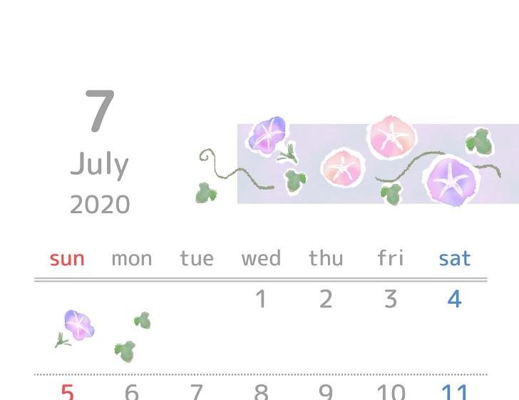 2020年7月縦型の朝顔「アサガオ」イラスト無料カレンダー