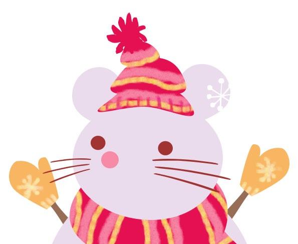 かわいい!「雪だるま」が「ねずみ」の無料イラスト素材