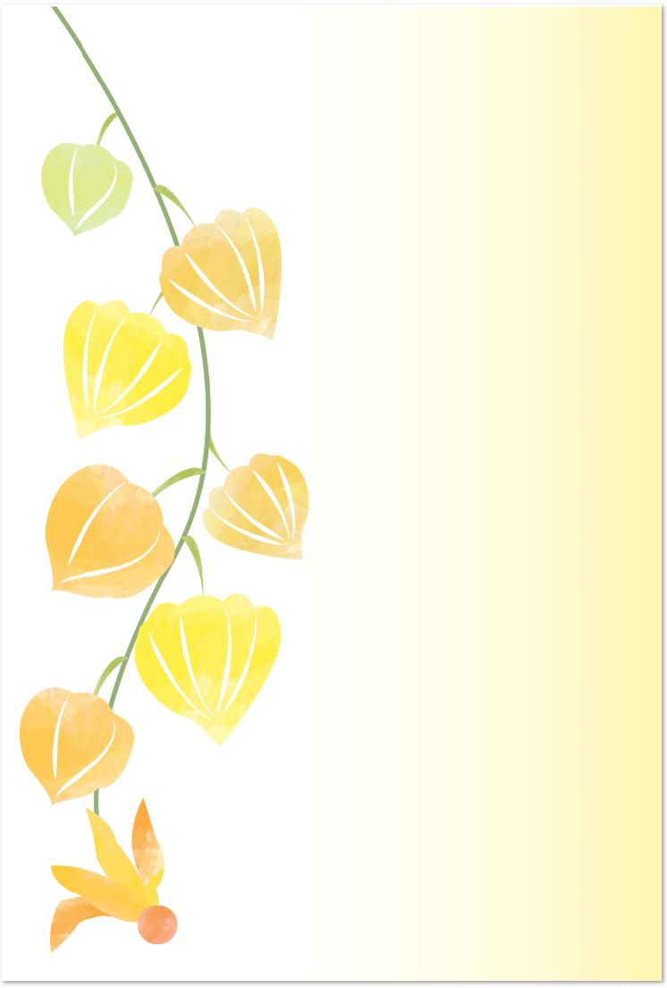 7月の鬼灯の花 かわいい無料イラストのメッセージカード 無料ダウンロード テンプレルン