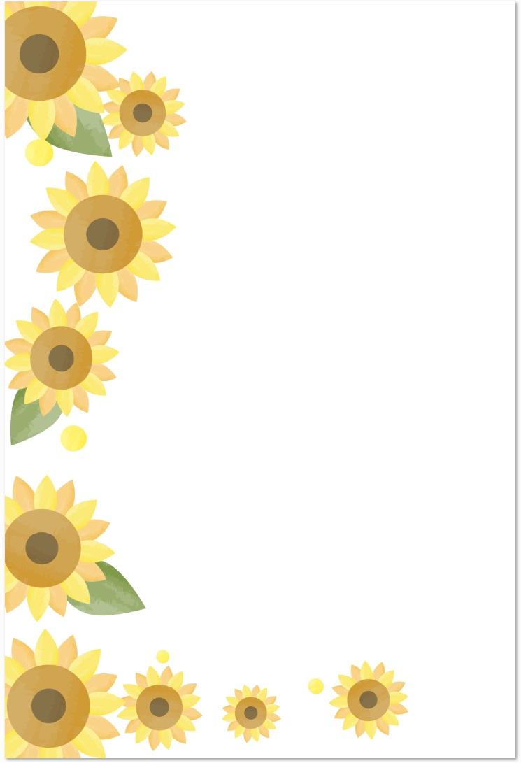 残暑見舞いに「ひまわりの花」のイラストデザインをダウンロード
