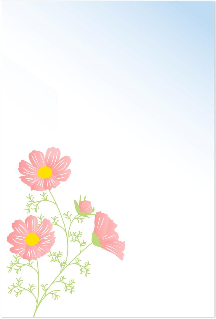 9月のコスモスの花のイラスト・はがきサイズをダウンロード