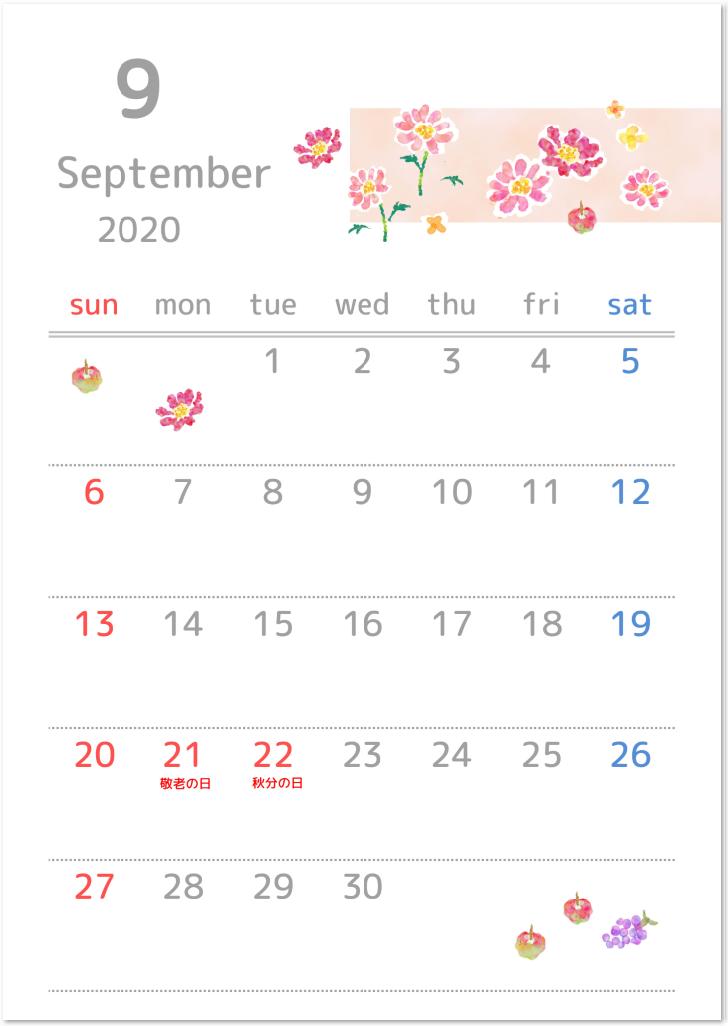 2020年9月縦型の「コスモス」イラスト無料カレンダーをダウンロード