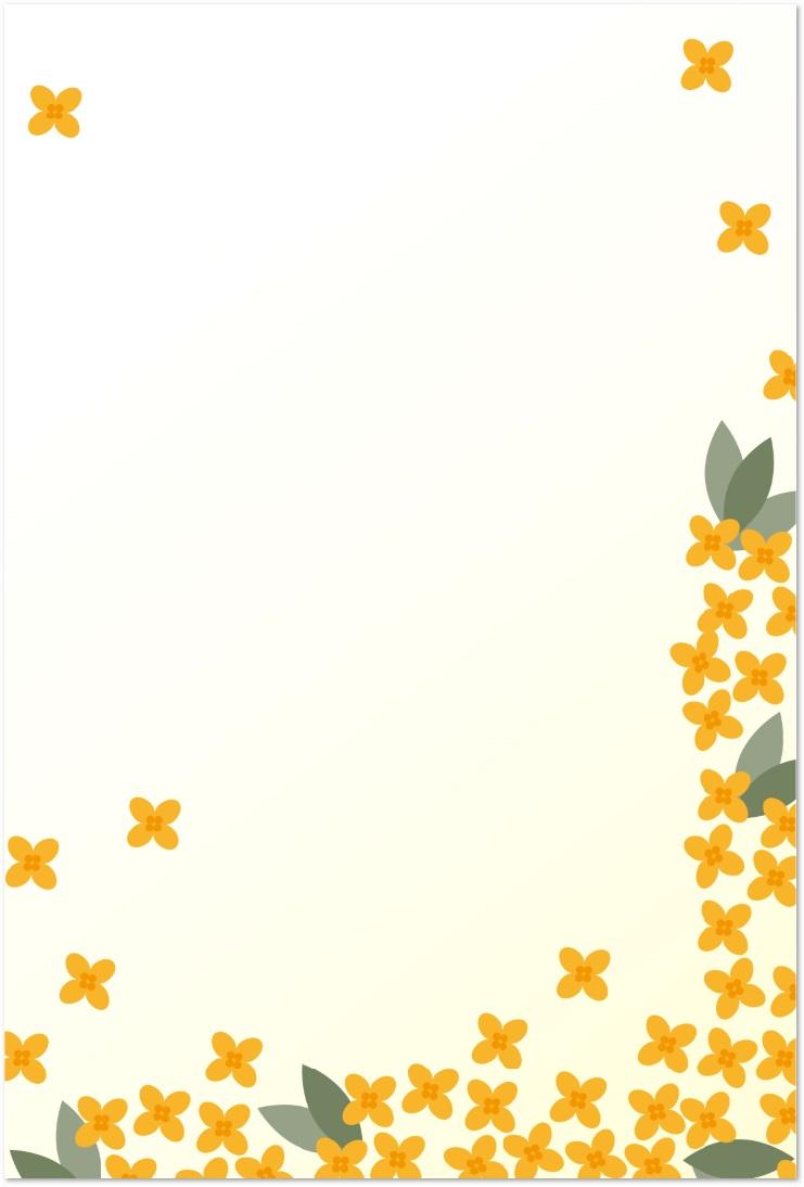 金木犀のイラスト入りの無料メッセージカードをダウンロード