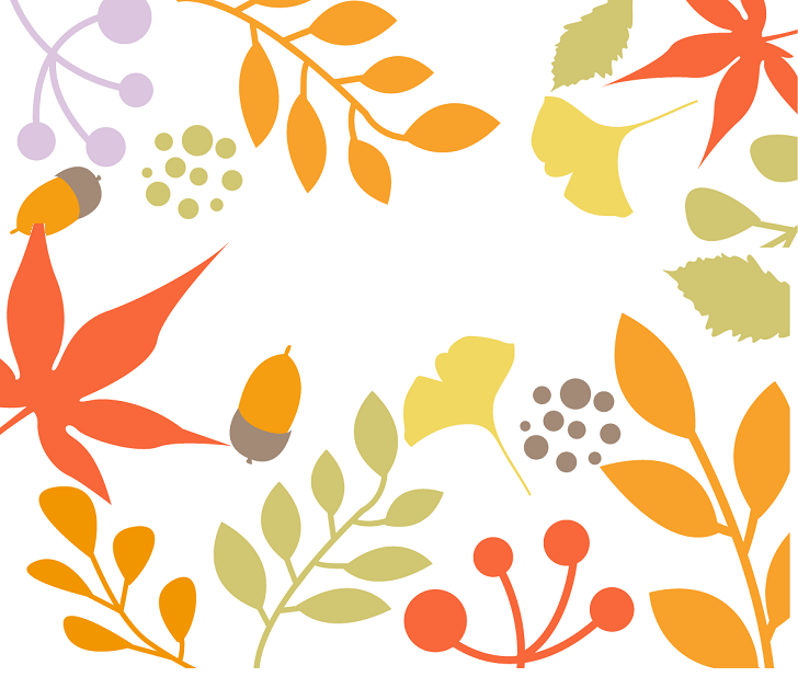 11月秋に色づく葉っぱ&紅葉の無料イラストのメッセージカード
