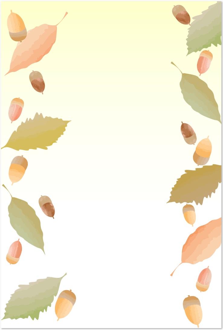 11月どんぐりの無料イラスト入りのメッセージカードのテンプレート