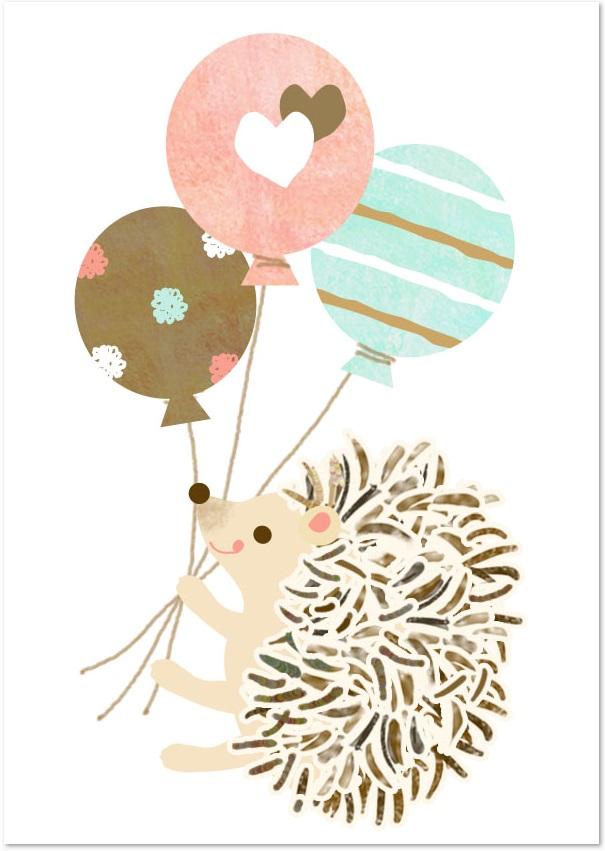 パステルカラーのバルーン 風船 ハリネズミの無料イラスト素材